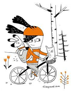 Elise Gravel :: author and illustrator Illustration Simple, Illustration Mignonne, Bicycle Illustration, Winter Illustration, Children's Book Illustration, Character Illustration, Character Sketches, Art Illustrations, Book Design Graphique