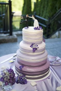 Ombre, Purple, Wedding Cake, Stripes, Modern, colorful
