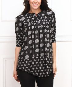 Take a look at this Charcoal & Gray Dot Button-Front Tunic - Plus on zulily today!