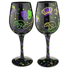 Mardi Gras Painted Wine Glasses