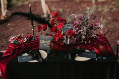 Black candles, black and gold calligraphy, handmade ceramics, red roses, black pampas, vintage candlesticks Flowers by www.instagram.com/magicinaflowerbox Gold Calligraphy, Rose Candle, Black Candles, Candlesticks, Red Roses, Aesthetics, Ceramics, Flowers, Handmade
