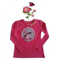T-shirtje roze lange mouw en grappige eigenwijze print 86/92