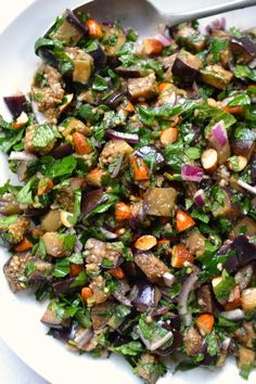 Chopped Eggplant, Almond & Herb Salad   Every Last Bite