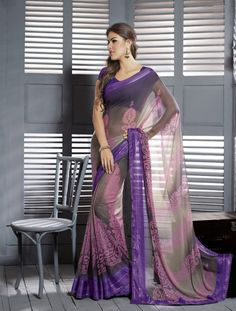 Beautiful Brown Chiffon fashion Saree