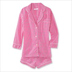 MARIGOT SHORT PAJAMA SET A vintage-style gingham print gives these menswear-inspired PJs ($115; marigotcollection.com) a girlie touch. The makers are donating 20 percent of proceeds to the BCRF.