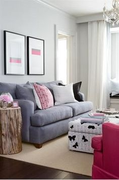 Samantha Pynn - living rooms - Benjamin Moore - Stonington Gray - pink, gray, blue, velvet, sofa, photo gallery, white, black, butterfly, ottoman, tree, trunk, accent, table, pink, accent, chair, white, drapes, window, seat, gray blue walls, paint color, living room,