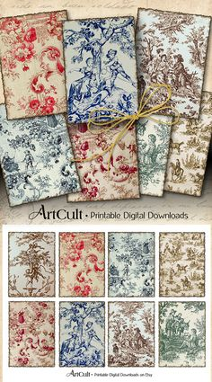 Printable Download OLD FRENCH TAPESTRY 2.5x3.5 inch Toile Backgrounds Jewelry Holders Digital Collage Sheet Scrapbooking paper gift tags