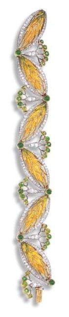 Best Diamond Bracelets  : AN ART NOUVEAU ENAMEL DIAMOND AND DEMANTOID GARNET BRACELET BY BOUCHERON. Comp