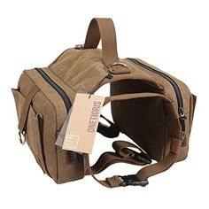 OneTigris Cotton Canvas Dog Pack Hound Travel Camping Hiking Backpack Saddle Bag Rucksack for Medium  Large Dog Dog Pack *** Click image to review more details.