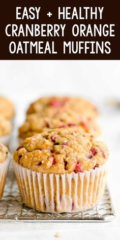 Healthy Cranberry Orange Oatmeal Muffins - SO moist & fluffy! This easy recipe is the BEST! ♡ ww greek yogurt cranberry orange oatmeal muffins. cranberry orange oatmeal muffins recipe with whole wheat & gluten free options. clean eating cranberry oatmeal muffins. Cranberry Recipes Healthy, Healthy Muffin Recipes, Yogurt Recipes, Healthy Muffins, Healthy Baking, Baking Recipes, Snack Recipes, Healthy Food, Cranberry Breakfast Recipes