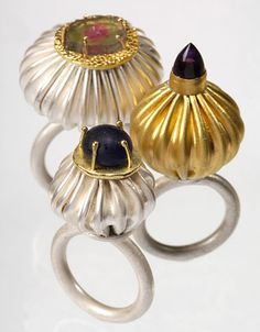 Felicity Peters | Multiculture Rings Stg silver 24ct gold, 18ct gold Roman glass counter amethyst tourmaline