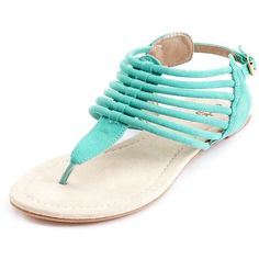 Sueded Strappy Flat Sandal ($20) ❤ liked on Polyvore