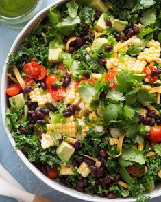 No-Cook Summer Dinners: Get the recipe for this kale taco salad from What's Gaby Cooking. Salad Recipes For Dinner, Salad Dressing Recipes, Pasta Salad Recipes, Salad Dressings, Imitation Crab Salad, How To Cook Kale, Whats Gaby Cooking, California Food, Spinach Recipes