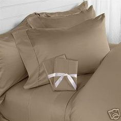 Amazon.com - Elegance Linen® 1200 Thread Count 100-Percent Egyptian Cotton 3pc Duvet Cover Set, SOLID, Full/Queen, Light Brown/Taupe - Sheet...