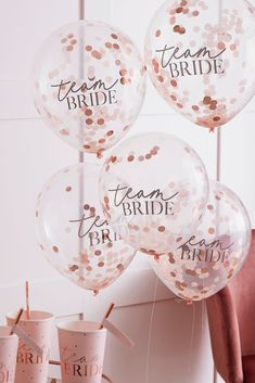 """A fun addition to the bachelorette party or bridal shower, this set of five """"team bride"""" balloons is full of shimmery confetti inside. PET Foil, latex Includes five balloons diameter Imported Bride Shower, Bridal Shower Party, Themed Bridal Showers, Bridal Shower Balloons, Bridal Shower Photos, Elegant Bridal Shower, Bridal Parties, Themed Parties, Hen Party Decorations"""