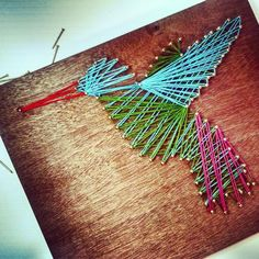 DIY string art hummingbird