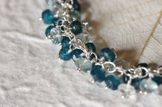 Peacock Blue Apatite Bracelet with Moss Aquamarine and White Topaz in Sterling Silver, March November Birthstone Birthday, Gemstone Cluster, by Princess Ting Ting Jewelry