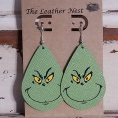 Your place to buy and sell all things handmade Diy Leather Earrings, Bow Earrings, Leather Jewelry, Christmas Earrings, Christmas Jewelry, Green Movie, Cricut Creations, Leather Projects, Jewelry Making Tutorials