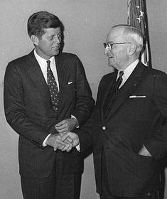 November 19, 1959: Former President Harry S. Truman greeting Senator John F. Kennedy at the Harry S. Truman Library in Independence, Missouri.