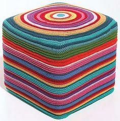 pouf works as a side table or a footrest Rannala Rannala Rannala Yesayan Designs Crochet Pouf, Crochet Cushions, Crochet Pillow, Love Crochet, Beautiful Crochet, Crochet Crafts, Crochet Yarn, Crochet Hooks, Crochet Projects