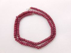 "AAA Gemstone Necklace Ruby Faceted Rondelle Beads Necklace 18""long 4mm-5mm #GemstoneTopper #StrandString"