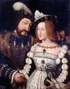 King Francis I of France and his wife, Eleanor of Austria, niece of Catherine of Aragon. A strangely disquieting image. Mode Renaissance, Costume Renaissance, Renaissance Portraits, Renaissance Fashion, Renaissance Clothing, Italian Renaissance, Historical Clothing, French History, Tudor History