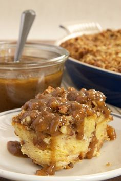 Praline Bread Pudding with Caramel-Pecan Sauce is full of pecans, brown sugar, and cinnamon. Then, it's topped with a sweet, nutty caramel sauce. Delicious! - Bake or Break