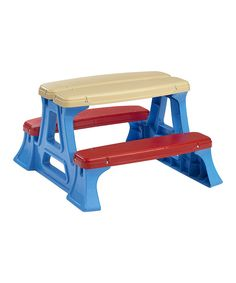 It's picnic time! Get out the table and let the kids set it for a party of four friends. The large, easy-to-clean tabletop is just perfect for petite art projects, snacks and other adorable adventures for little ones who love company.29'' W x 28'' H x 17'' DPlasticAssembly requiredRecommended for ages 3 years and upMade in the USA