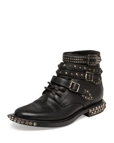 Saint laurent Rangers Studded Ankle Boot in Black Studded Ankle Boots, Lace Up Ankle Boots, Tall Boots, Suede Boots, Ankle Booties, Boots 2014, Studs And Spikes, Saint Laurent Shoes, Thing 1