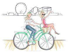 Giuliana Rancic   California style   Santa Monica Pier   summer style   fashion illustration   Brittany Fuson
