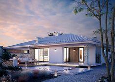 Planos de casas modernas | Planos de casas gratis y modernas Bungalow Haus Design, House Design, Style At Home, Single Story Homes, House Elevation, Story House, Facade House, Pool Houses, Ideal Home