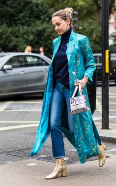 Shades of blue with metallic gold booties.