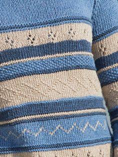 Detail of Jeanie, a free knitting pattern designed by Brenda York. Knit this great sweater in three colors of Berroco Elba. #freeknittingpattern #sweaterknitting