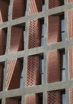 Fascinating Brick Pattern Facade That Will Amaze You - The Architects Diary Detail Architecture, Brick Architecture, Contemporary Architecture, Architecture Student, Brick Design, Facade Design, Brick Building, Building Design, Facade Pattern