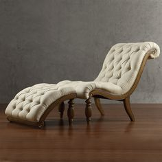 TRIBECCA HOME Bellagio Beige Linen Button Tufted Curved Chaise Lounge with Ottoman | Overstock.com