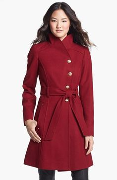 GUESS Belted Asymmetrical Wool Blend Coat (Regular & Petite) available at #Nordstrom