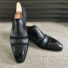 Handmade Black Cap Toe Shoes, Men's Suede Leather Lace Up Fa.- Handmade Black Cap Toe Shoes, Men& Suede Leather Lace Up Fashion Shoes – Thumbnail 1 - Cap Toe Shoes, Men's Shoes, Shoes Men, Ladies Shoes, Men Boots, Ladies Footwear, Flat Shoes, Suede Leather Shoes, Leather And Lace
