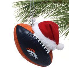 Denver Broncos Team Ball Ornament with Santa Hat