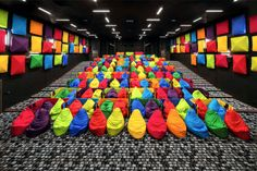 Cool Movie Theater In Slovakia Offers Snuggling Beanbags As Seats And Colorful Design cooles Kino 6 Cinema Seats, Cinema Theatre, Theatre Design, Cinema Room, Movie Theater, Cinema Architecture, Colour Architecture, Bratislava, Auditorium Design