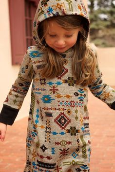 Girls Aztec Print Dress with Hood..Girls dress..Sweater Dress..Toddler Clothing..12M 18M 2T 3T 4T 5T, SZ 6-10..Children's Clothing on Etsy, $47.00