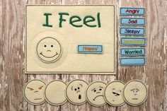 Felt Emotions Chart by BlueUmbrellaDesigns on Etsy Preschool Charts, Emotions Preschool, Preschool Age, Feelings Chart, Feelings Words, Feelings And Emotions, Counseling Activities, Teaching Activities, School Counseling