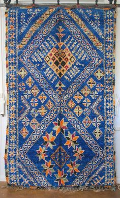 So rare - vintage Moroccan BLUE Beni Ouarain Rug.  From the Souk, by M.Montague.  Moroccan design