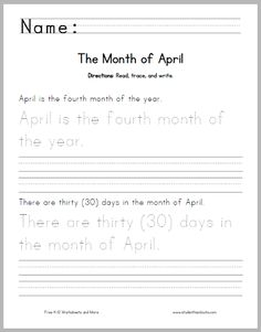 Month of February Writing Practice - Free to print (PDF). Handwriting Practice Sentences, Spelling Practice, Handwriting Worksheets, Cursive Handwriting, Penmanship, Geometry Worksheets, Hindi Worksheets, Free Worksheets, 4th Grade Writing