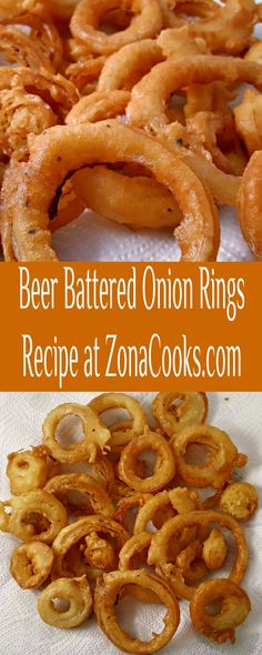 Beer Battered Onion Rings Small Batch Recipe - These are deep fried to a crispy golden brown with the perfect beer batter coating over delicious sweet onion rings. This recipe makes a small batch just right for 2 to 4 people. It makes a great homemade appetizer or side dish to your favorite burger or sandwich. #OnionRings #BeerBattered #SmallBatch #SideDishForTwo Onion Ring Batter, Beer Battered Onion Rings, Recipe For 2, Side Dish Recipes, Side Dishes, Good Food, Yummy Food, Onion Recipes, Appetizer Recipes