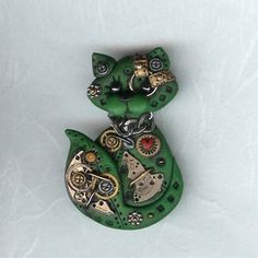 steampunk brooches and pins | Steampunk Green Kitty Cat Pin Brooch Polymer Clay Jewelry