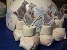 Traktatie #treat #frozen #olaf #gezond Mandarijn, marshmallow, satéstokje en printje van hoofdje van olaf