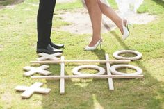 Let your first steps as husband and wife be on a Giant Tic Tac Toe board at your outdoor reception! # Weddings games 10 Outdoor Wedding Games That Will Make Your Reception Even More Fun - Wilkie Outdoor Wedding Games, Lawn Games Wedding, Wedding Reception Games, Outdoor Games, Wedding Ideas, Wedding Fun, Outdoor Art, Wedding Themes, Gold Wedding