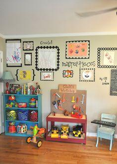 Children's Artwork Display, have a little shrine of all their artwork in the bonus room Playroom Decor, Kids Decor, Home Decor, Playroom Ideas, Playroom Design, Colorful Playroom, Displaying Kids Artwork, Artwork Display, Display Wall