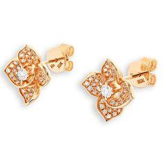 (X1000Diamond) 18K/750 Rose Gold Flower Diamond Stud Earring (0.43 cttw, G-H Color, VS2-SI1 Clarity)