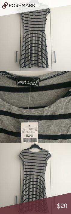 Grey & Black Striped Swing Dress Size S NWT Wet Seal Dresses